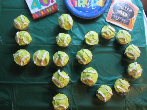 40th Birthday Tennis Ball Cupcakes